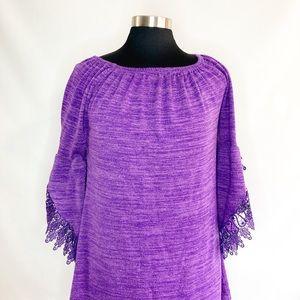 Win Win purple knit top with lace trim. Medium